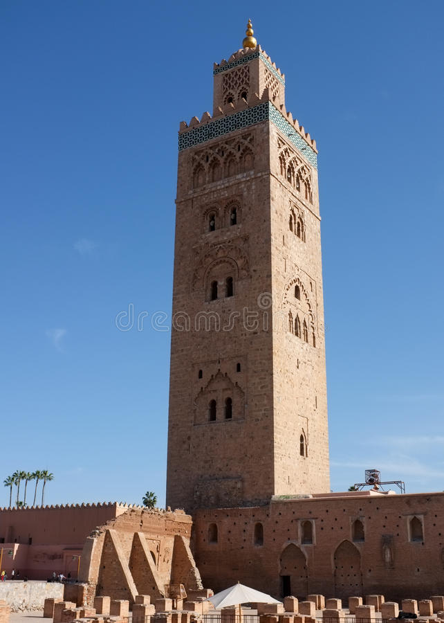 moské för koutoubiamarrakech minaret royaltyfri bild