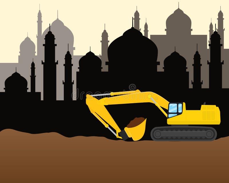 Moské för maskin för modern för moslemmuslimislam för konstruktion illustration för utveckling tung vektor illustrationer