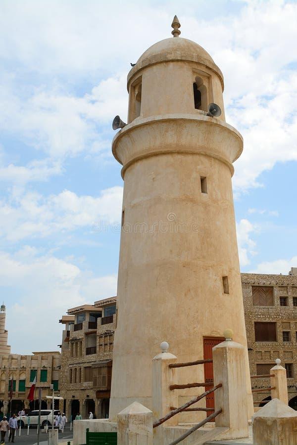 Moské i den gamla staden, Doha, Qatar arkivbilder