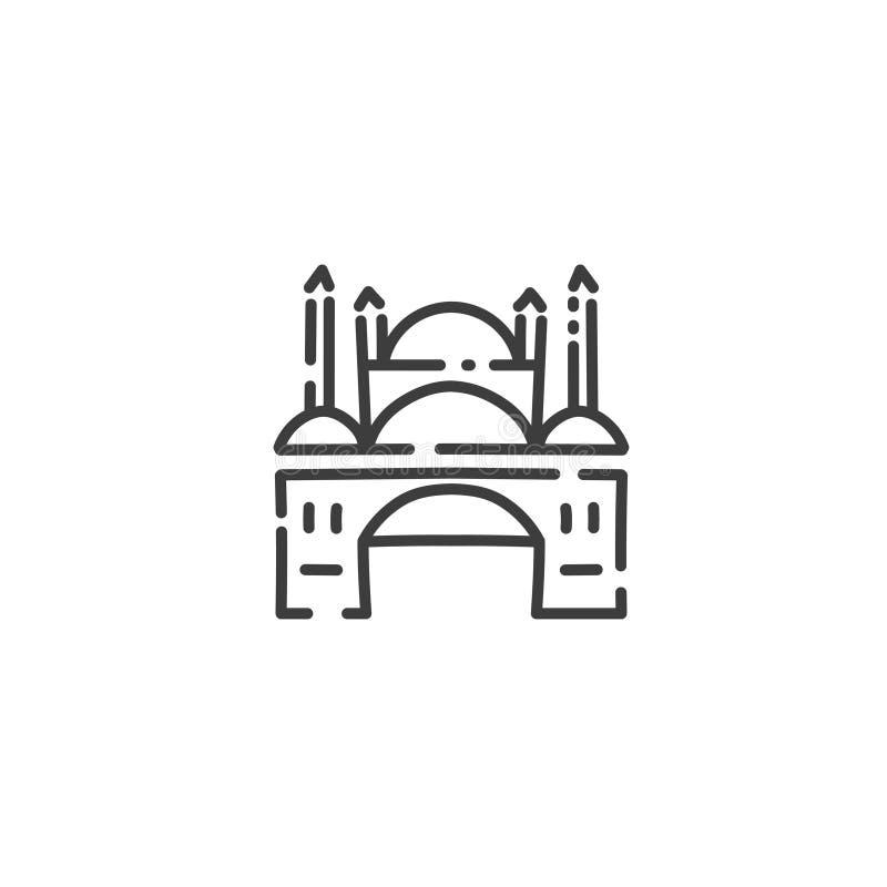 Moské med den plana översiktssymbolen för minaret av Egypten, begreppskontur royaltyfri illustrationer