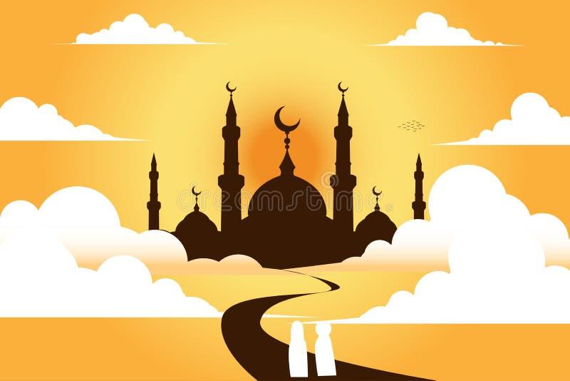 Moské med himmel, bakgrund royaltyfri illustrationer