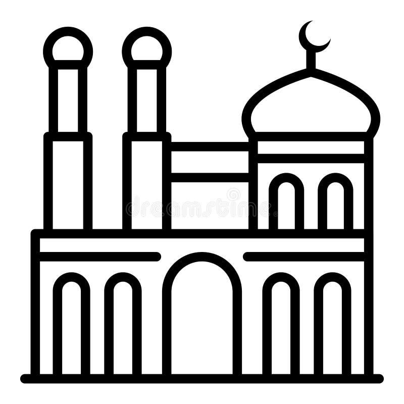 Moské med symbolen för två minaret, översiktsstil vektor illustrationer