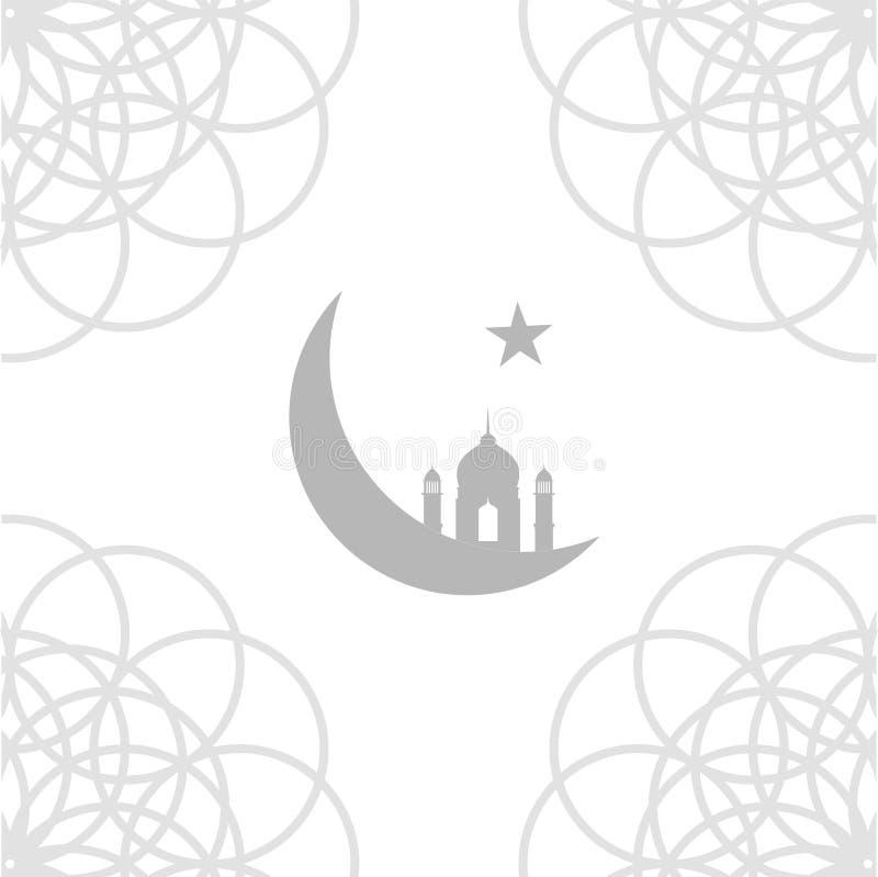 Moské- och halvmånformigmånesymbol av religionen av islam stock illustrationer