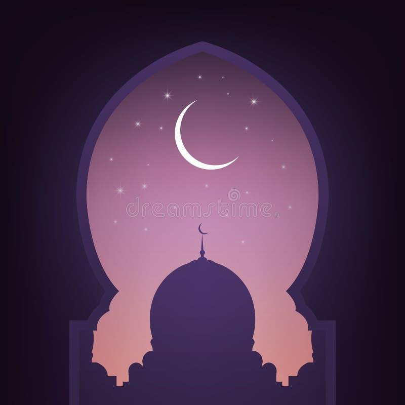 Moskédörr med sikt på moskén, natthimlen, den skinande månen och stjärnorna Arabisk illustration för muslimferier stock illustrationer