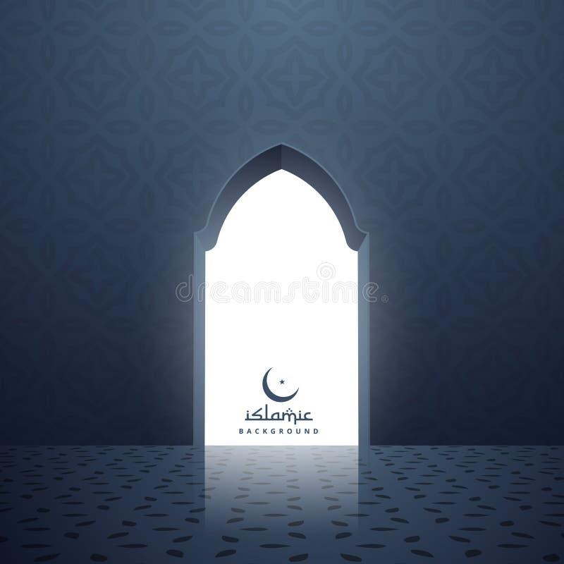 Moskédörr med vitt ljus som inom kommer vektor illustrationer
