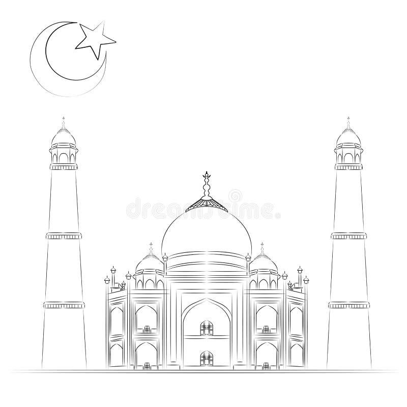Moskéillustrationen, den drog handen, skissar minaret, muslim royaltyfri illustrationer