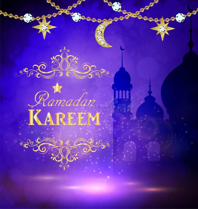 Moskékonturn i solnedgånghimmel och abstrakt begrepp tänder för ramadan av islam stock illustrationer
