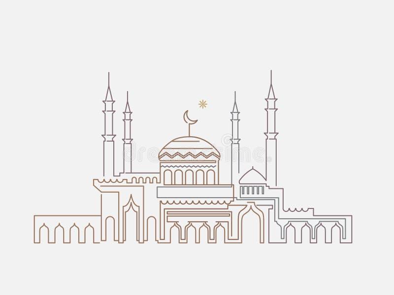 Moskélineart ramadan royaltyfri illustrationer