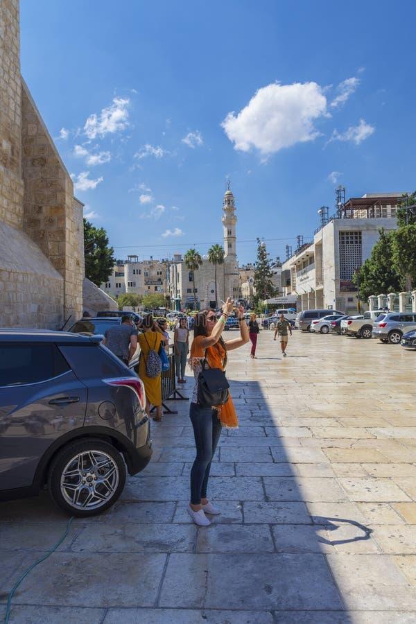 Moskén av Omar, det äldst i Betlehem royaltyfria foton