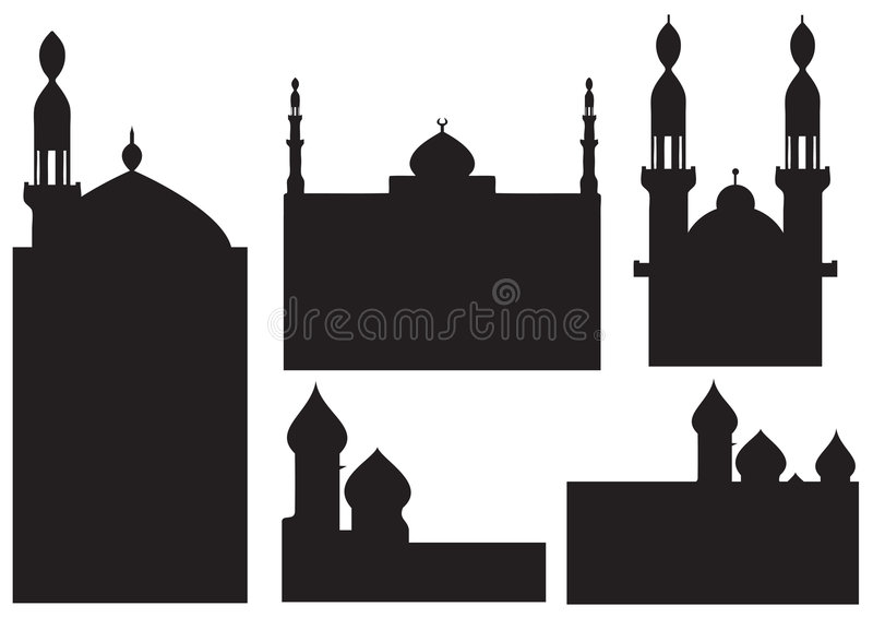 moskésilhouettes royaltyfri illustrationer