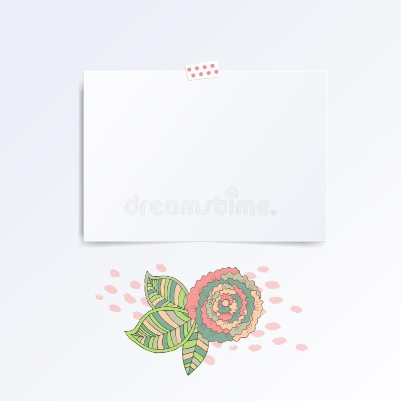 Mosk вверх по шаблону вектора пустой поздравительной открытки с цветком бесплатная иллюстрация