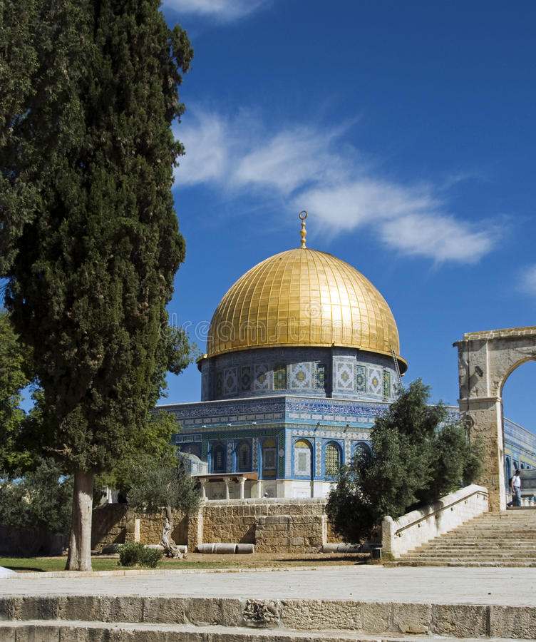 Mosk in Jerusalem with the copper roof stock image