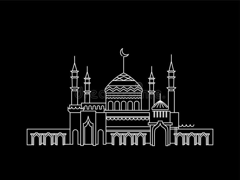 Mosk?lineart ramadan vektor illustrationer