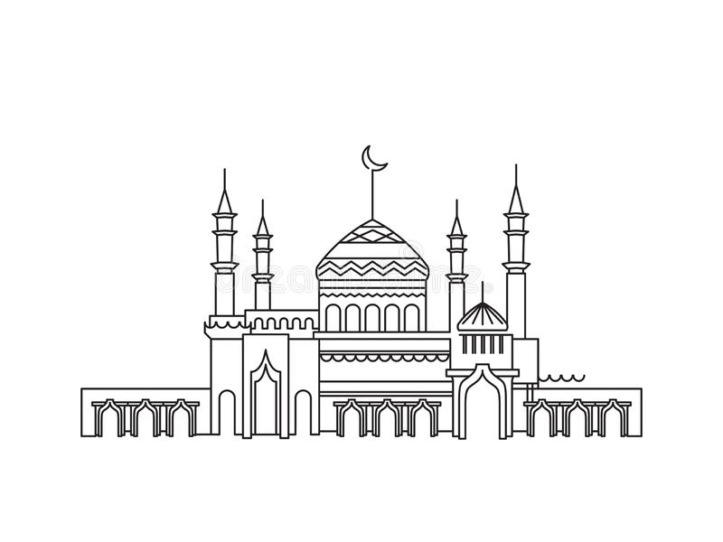 Mosk?lineart ramadan royaltyfri illustrationer