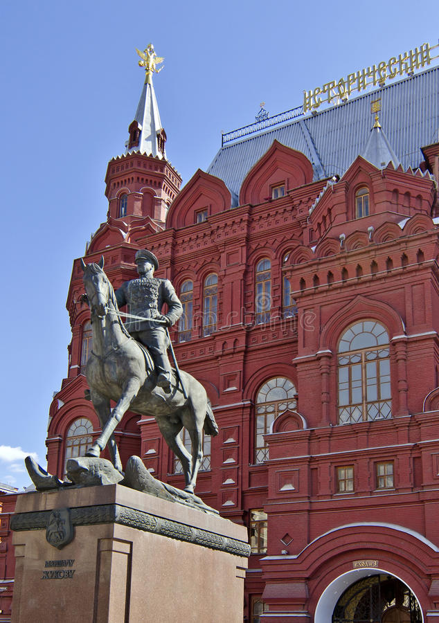 Moskau-Architektur - Monument, zum von Zhukov, Geschichtsmuseum zu ordnen lizenzfreies stockbild