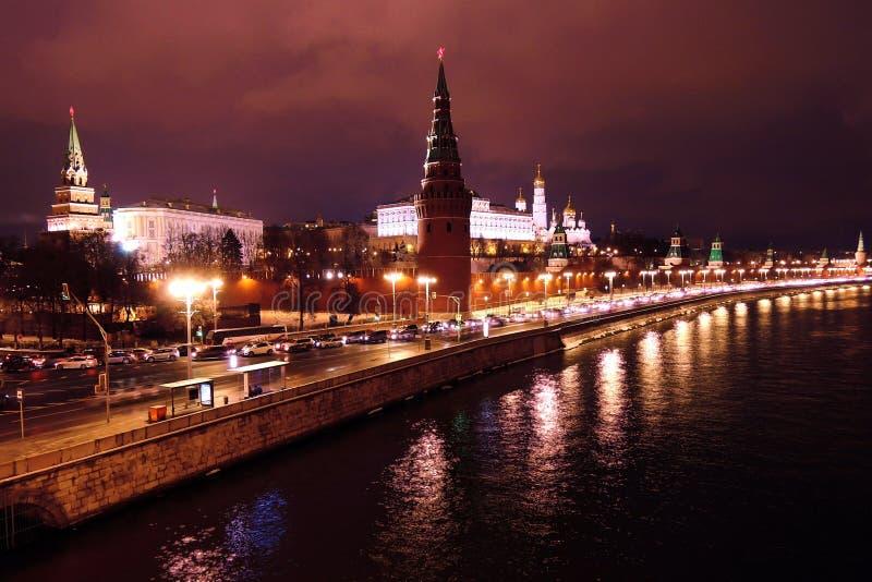 Moskau Der Kreml Nachts Der Moskau-Flussdamm Stockfoto..