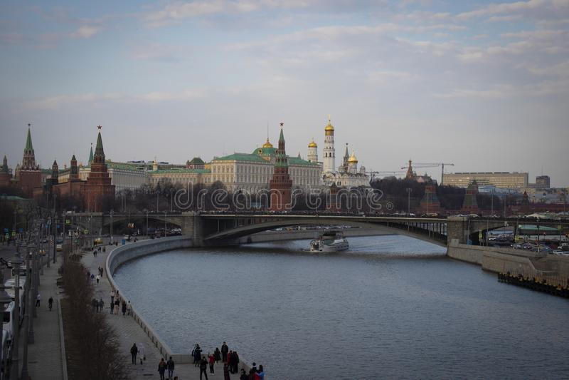 Moskau! Fluss Moskau und der Kreml stockbild