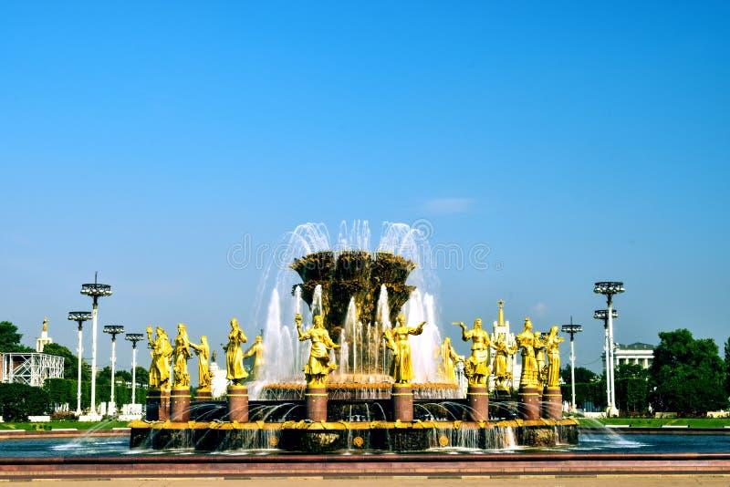 Moskau, Russia - 22 luglio 2016: Fontana VDNKh di nazioni di amicizia fotografia stock
