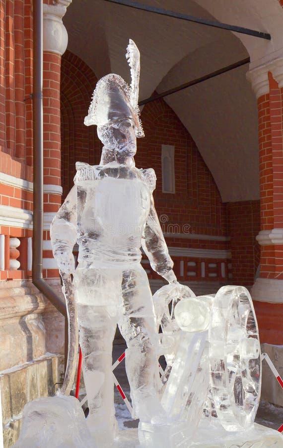 Moskau, Russland, Ausstellung von Eisskulpturen in der Kathedrale St.-Basilikums Zar Alexander I. stockfoto