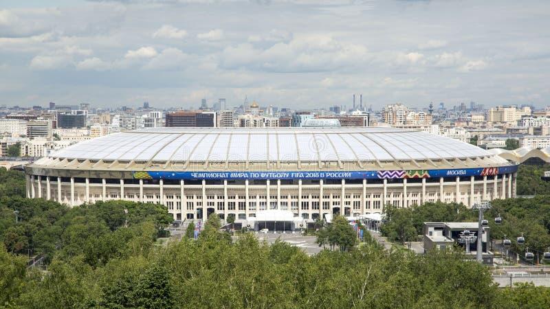 MOSKAU, RUSSLAND - 7. JUNI 2018: Ansicht des Luzhniki-Stadions Größtes Fußball-Stadion in Russland Fußball-Weltmeisterschaft 2018 stockfotografie