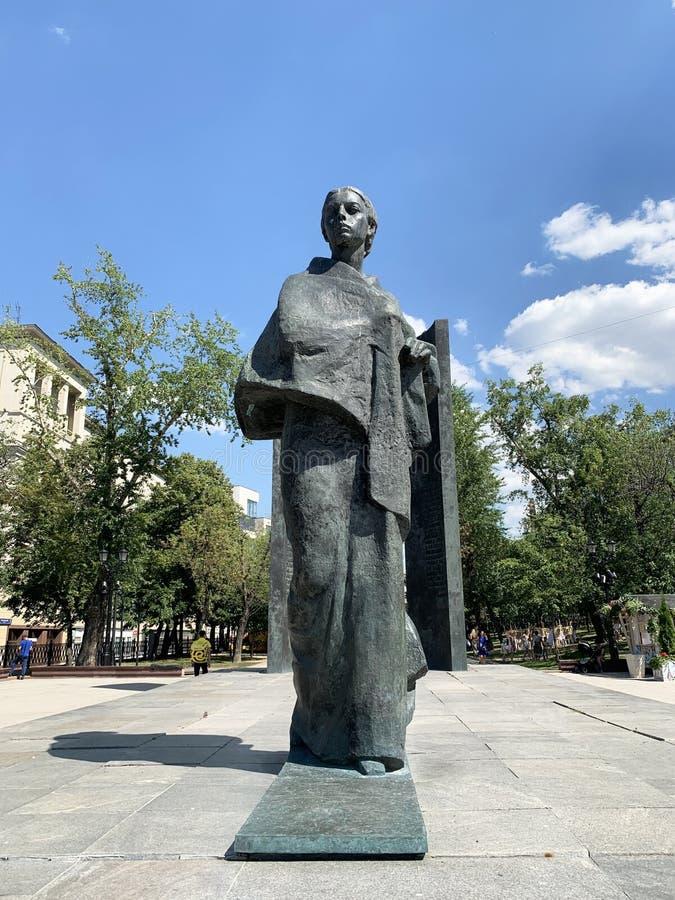 Moskau, Russland, Juni, 20, 2019 Monument zu N K Krupskaya auf Sretensky-Boulevard in Moskau im Sommer lizenzfreie stockfotografie
