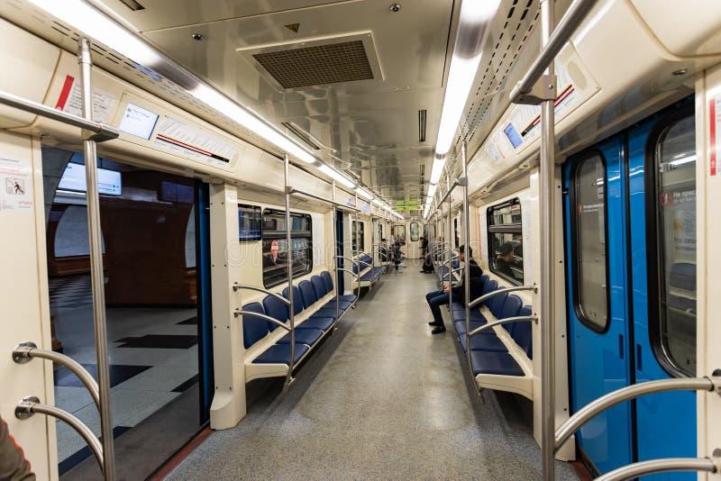 Moskau, Russland kann 26, Innenraum 2019 der Untergrundbahn stockbild