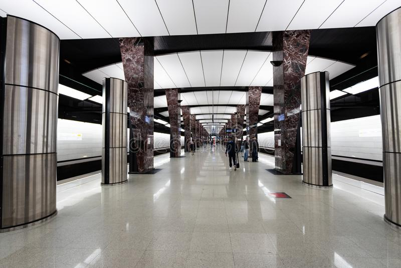 Moskau, Russland kann 26, 2019, neue moderne Metrostation Khoroshevskaya Errichtete im Jahre 2018 Solntsevskaya-U-Bahn-Linie lizenzfreie stockbilder