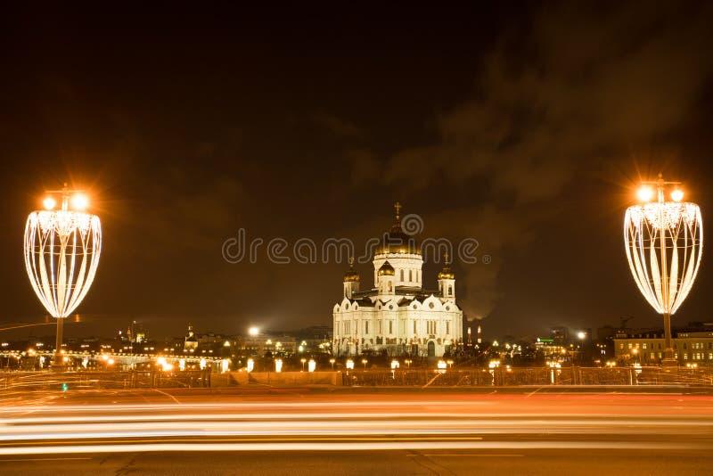 Moskau, Russland Kathedrale von Christus-Retter nachts Winter lizenzfreies stockbild