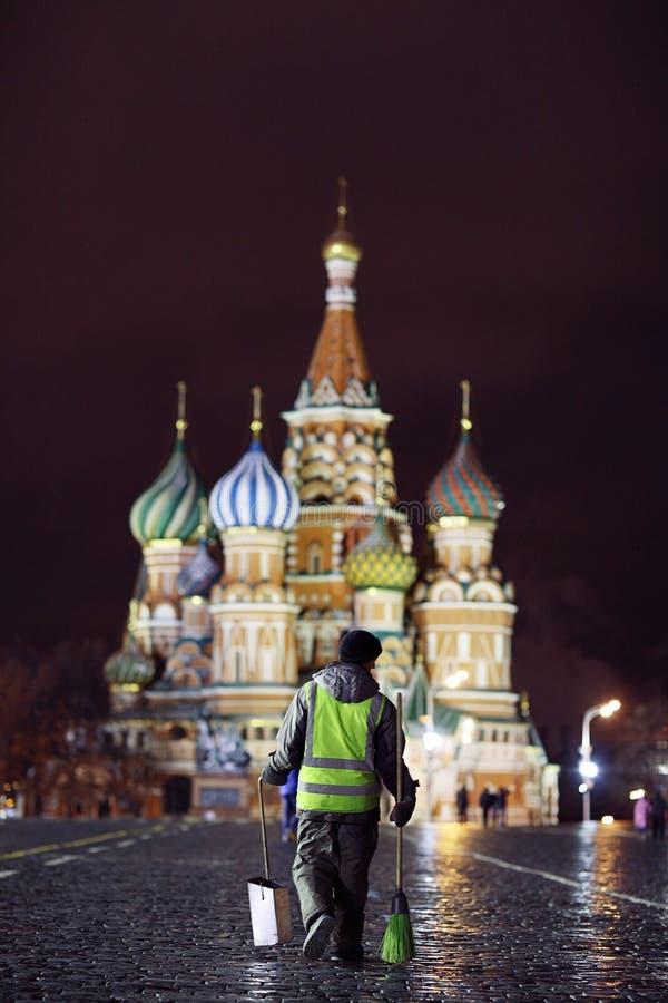 Moskau, RUSSLAND - 31. März: Nachtlandschaft im Vorfrühling im Stadtzentrum in Moskau am 31. März 2014 lizenzfreie stockfotografie