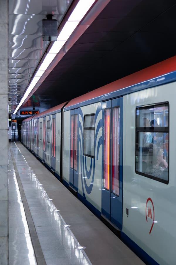 MOSKAU, RUSSLAND - 23. Mai 2018: Moskau-Metrostation ` Spartak-` ist nahe bei ` Öffnungs-Arena ` Stadion, die Match bewirten lizenzfreies stockbild