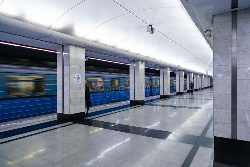 MOSKAU, RUSSLAND - 23. Mai 2018: Moskau-Metrostation ` Spartak-` ist nahe bei ` Öffnungs-Arena ` Stadion, die Weltcupmatch bewirt lizenzfreie stockfotografie