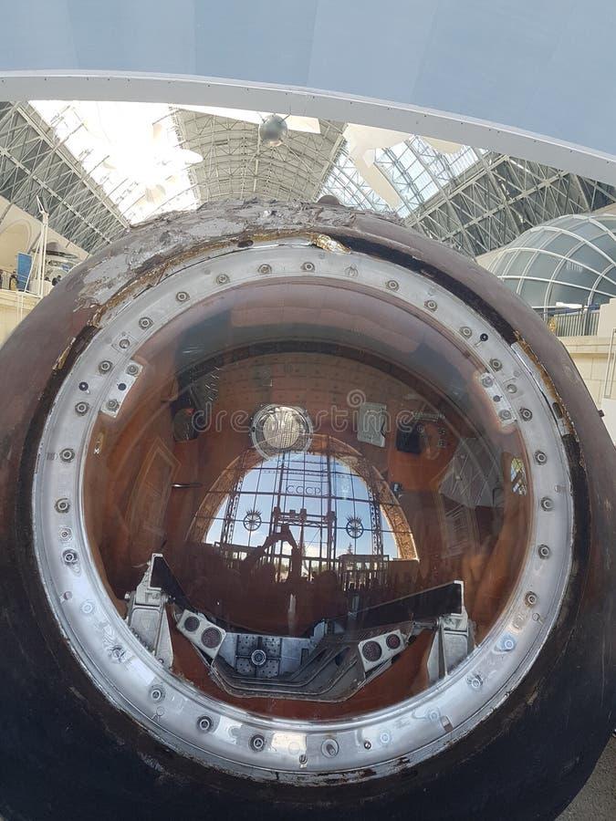 MOSKAU, RUSSLAND - 05 07 2018: Raumfahrzeug, Einheiten und Ausrüstung von Russland im Weltraummuseum lizenzfreies stockbild