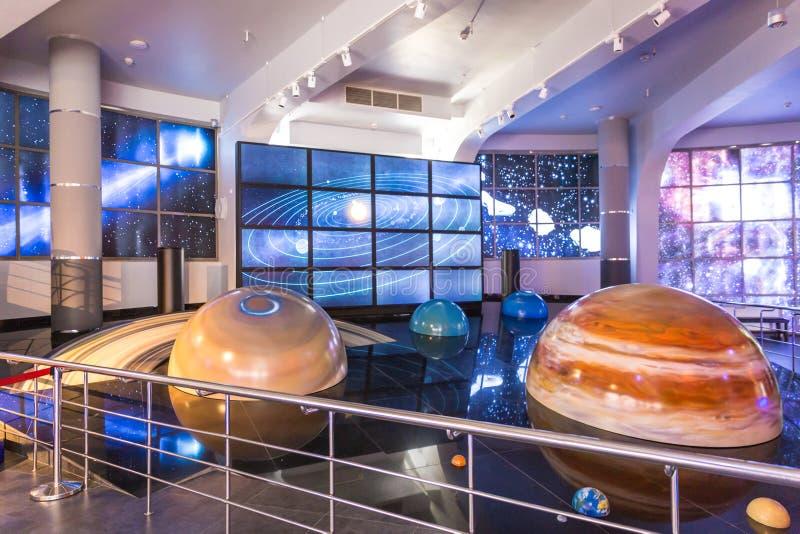 MOSKAU, RUSSLAND - 28. SEPTEMBER: Ausstellung in Moskau-Planetarium am 28. September 2014 in Moskau Ein der Welt stockfoto