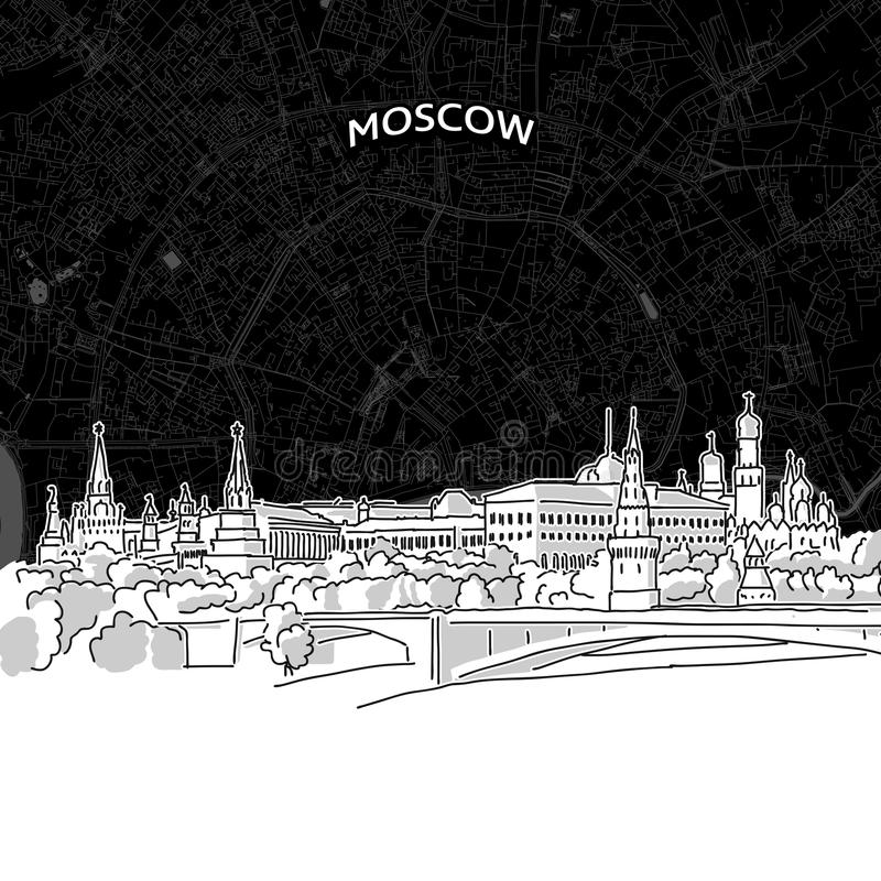 Moskau-Skyline mit Karte stock abbildung
