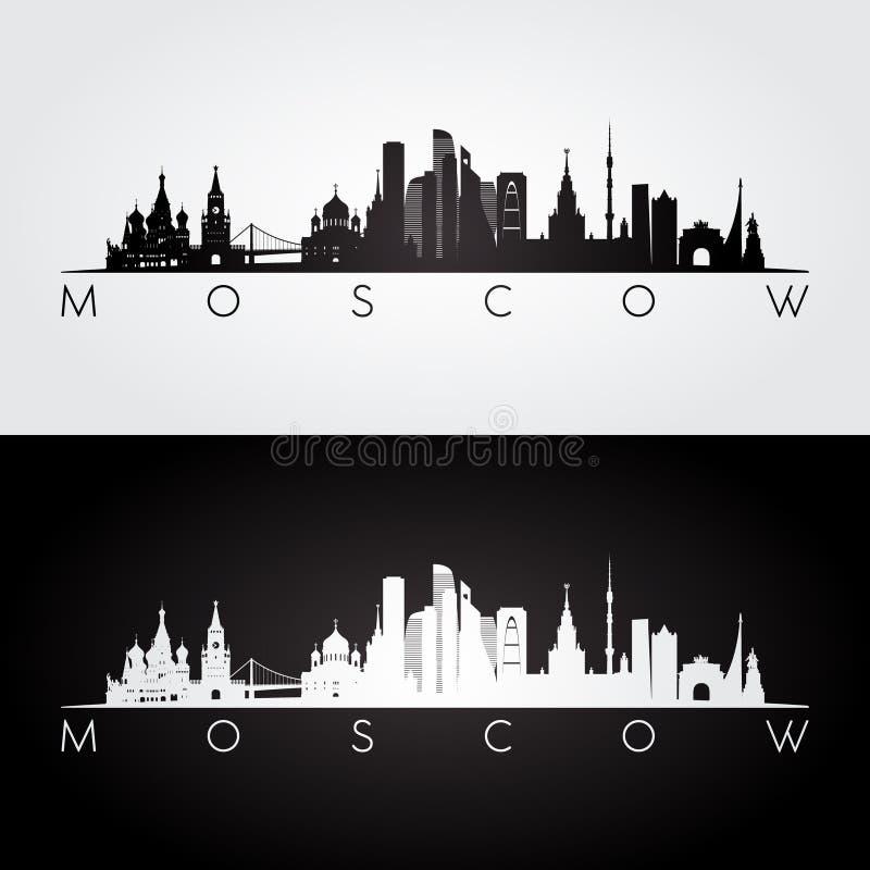 Moskau-Skyline und Marksteinschattenbild lizenzfreie abbildung