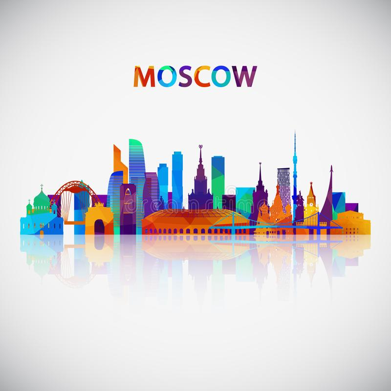 Moskau-Skylineschattenbild im bunten geometrischen Stil stock abbildung