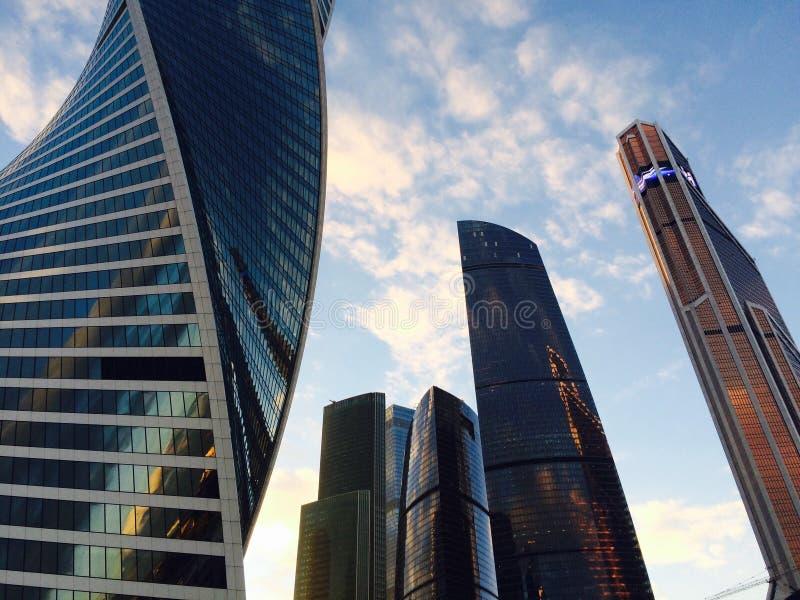 Moskau-Stadt - Ansicht von Wolkenkratzern stockfoto
