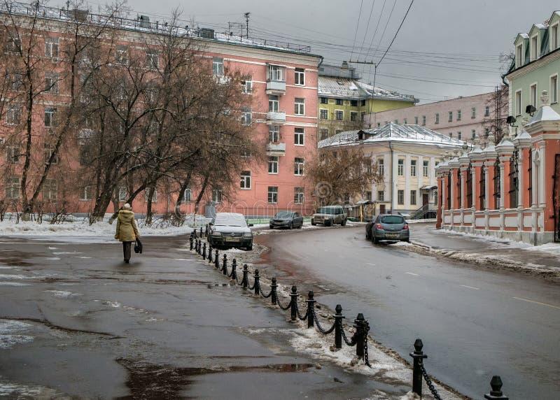 Moskau-Straßen ernstlich Russland stockbild