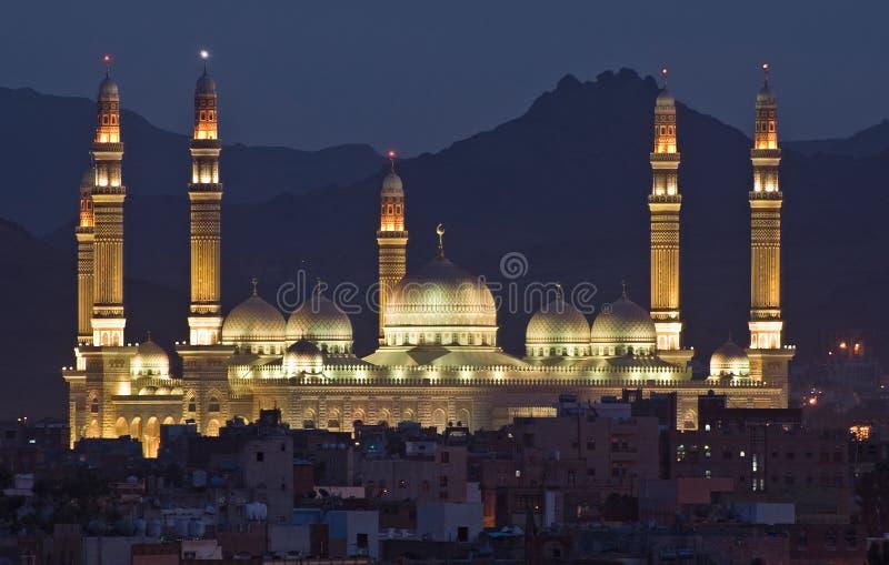 Moskee bij nacht stock fotografie