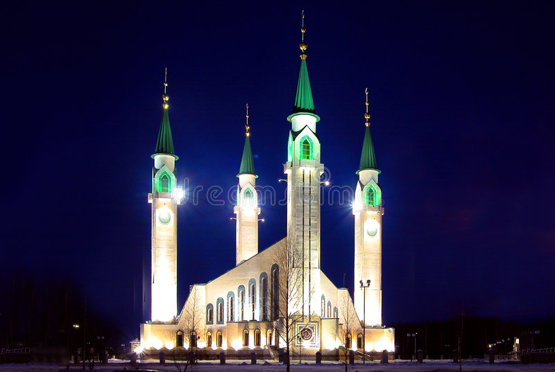 Moskee bij nacht. royalty-vrije stock foto's