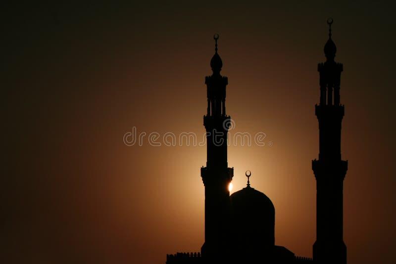 Moskee bij Zonsondergang stock afbeeldingen