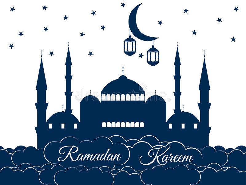 Moskee in de wolken Ramadan Kareem, blauwe moskee, minaret royalty-vrije illustratie