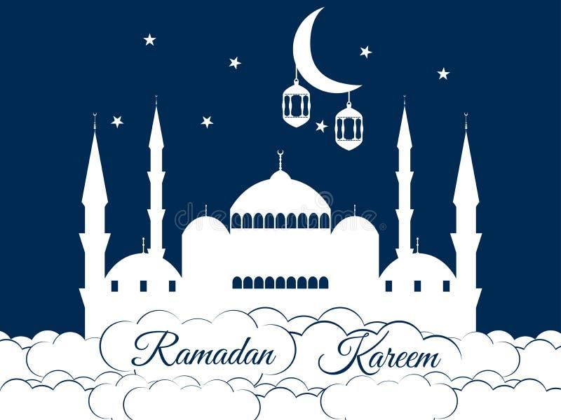 Moskee in de wolken Ramadan Kareem, blauwe moskee, minaret, lantaarn en maan, moslimvakantielichten royalty-vrije illustratie
