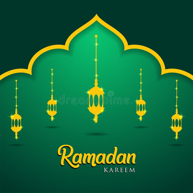 Moskee en lantaarns op groene achtergrond Moslimgroetkaart Ramadan Kareem, Vrij Visitekaartjemalplaatje - Illustratie vector illustratie