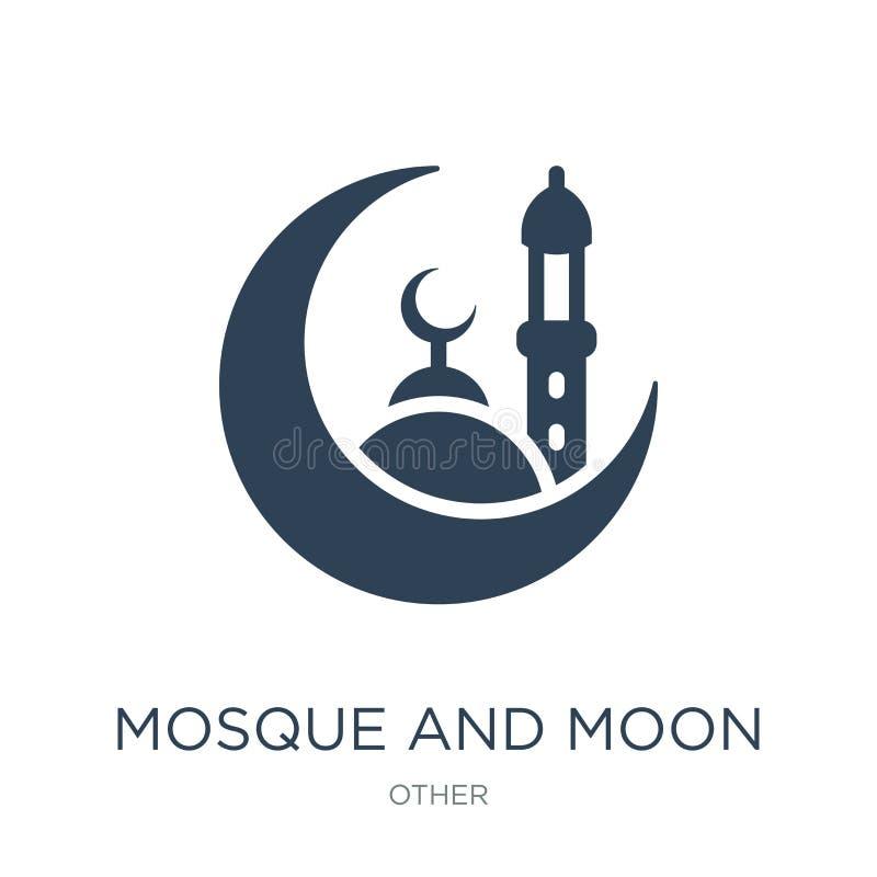moskee en maanpictogram in in ontwerpstijl moskee en maanpictogram op witte achtergrond wordt geïsoleerd die moskee en maan vecto vector illustratie