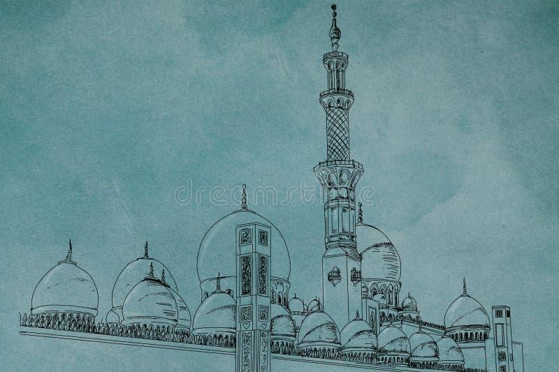 Moskee en Minareta schets van een moskee met een lange minaret royalty-vrije illustratie