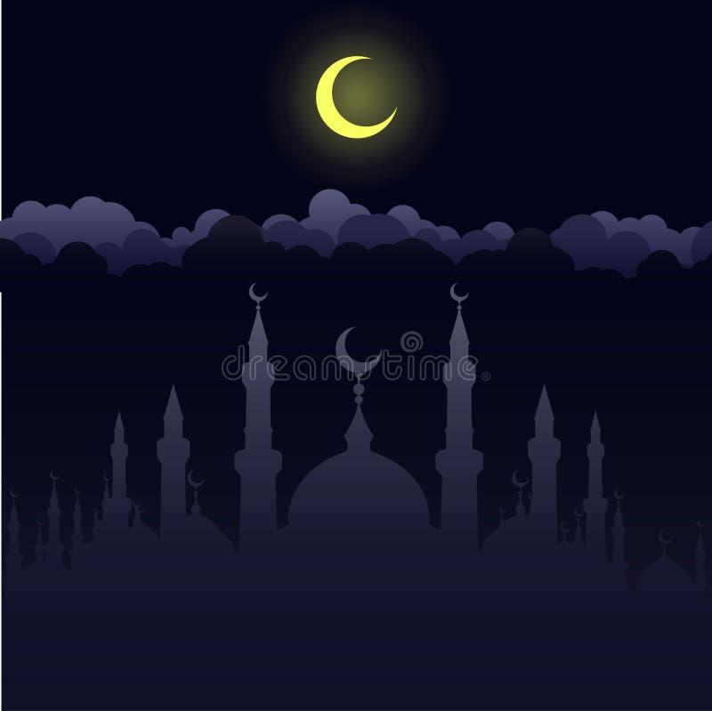 Moskee, godsdienstige plaats van Islam vector illustratie