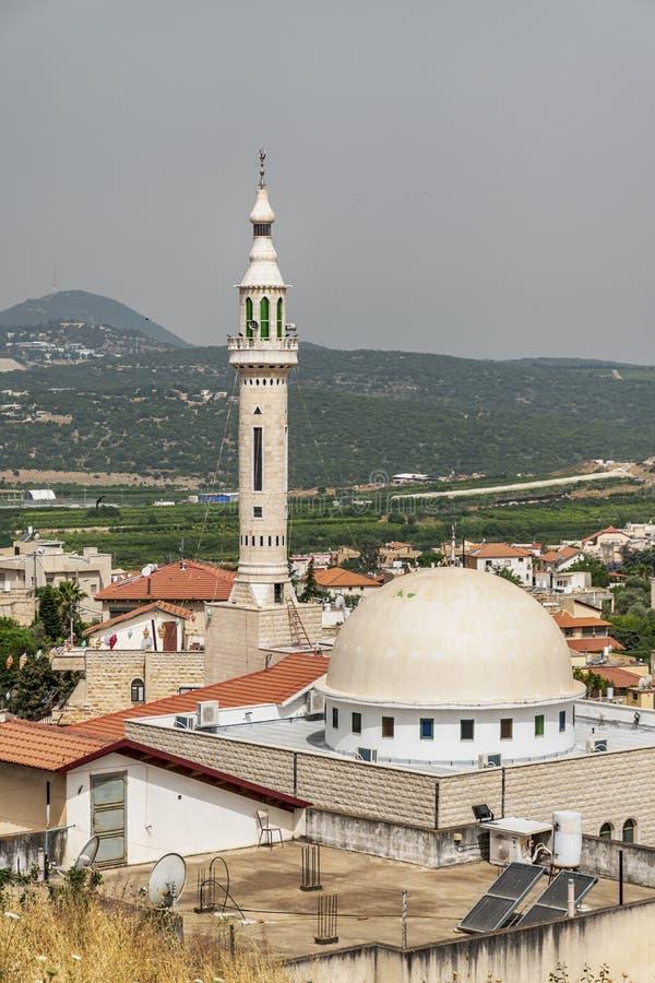Moskee in het dorp Jish Gush Khalaf in het noordelijke Galilea, Israël royalty-vrije stock afbeelding