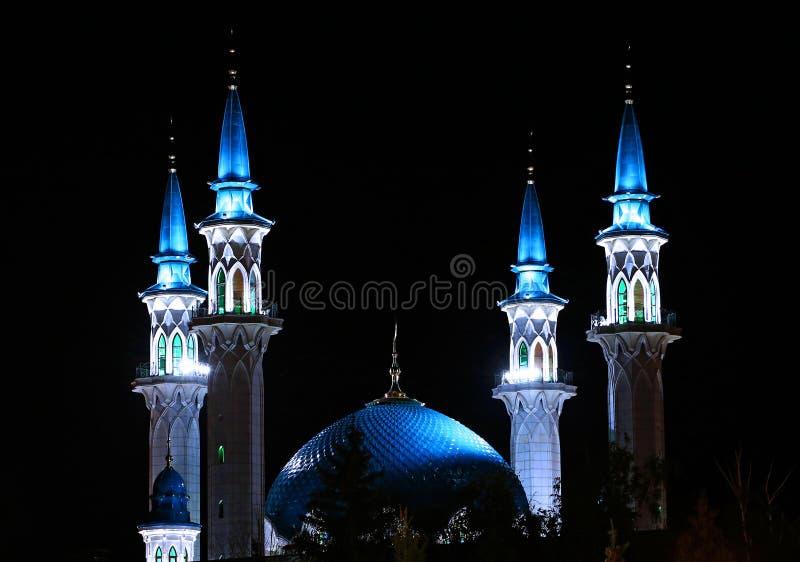 Moskee kul-Sharif in Kazan het Kremlin bij nacht royalty-vrije stock afbeeldingen
