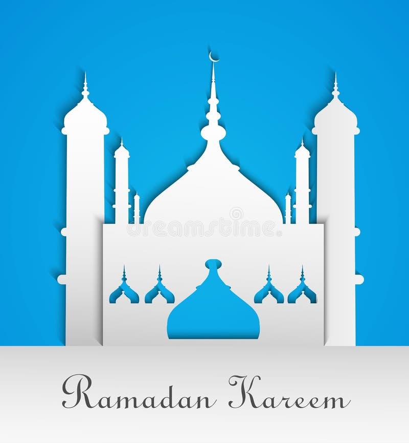 Moskee of Masjid met tekstRamadan Kareem stock illustratie